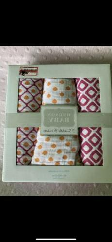 Hudson Baby Girl Swaddle Blankets 3 Pack 100% Cotton Muslin.