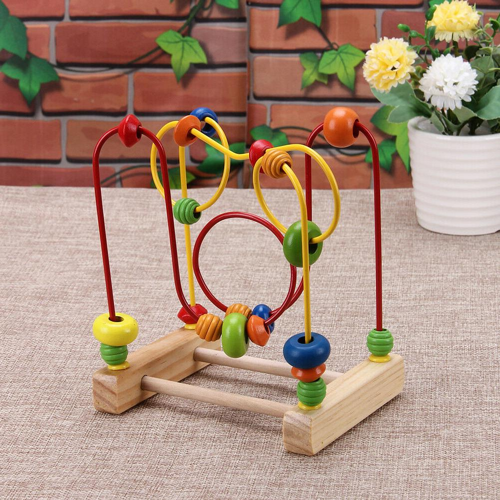 Baby Math Colorful Around Beads Wire Maze Toys Gift