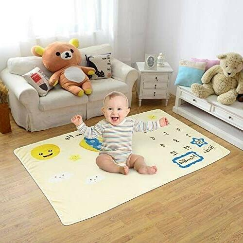 Baby Monthly Milestone Blanket Photography Bed Mat Boys Shower Gift