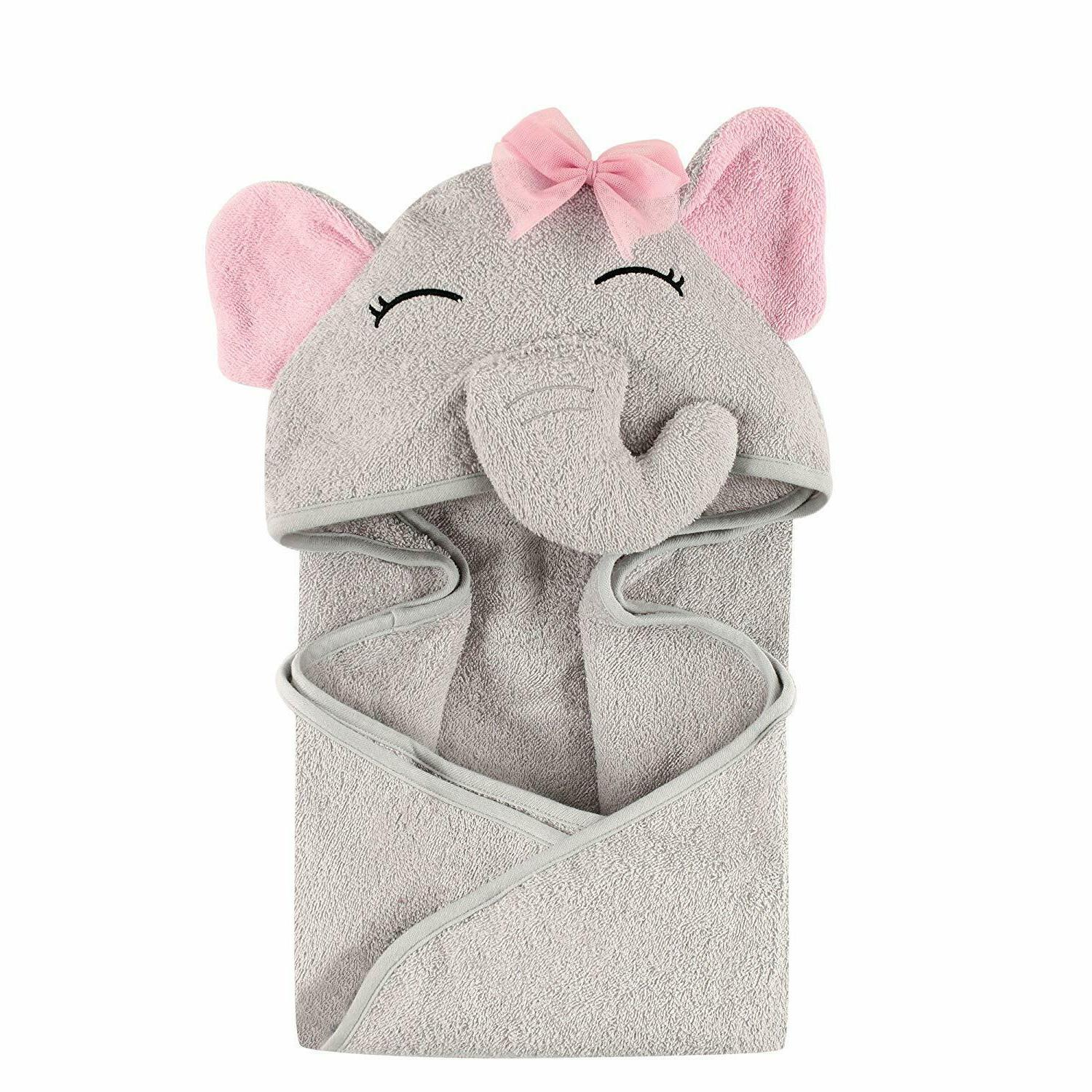 Hudson Baby Unisex Baby Animal Face Hooded Towel, Pretty Ele