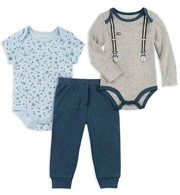 infant boys blue and gray 3pc pant
