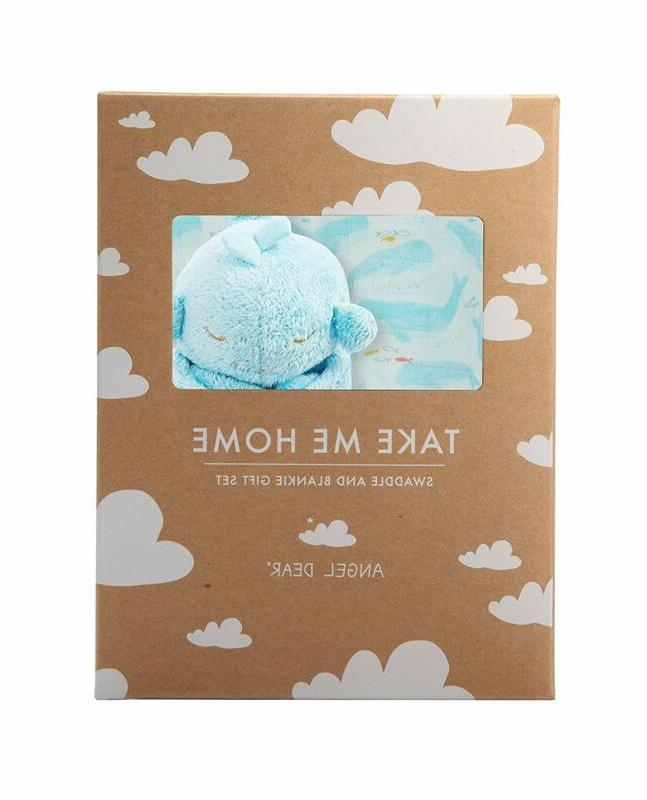 swaddle and blankie gift set blue whale