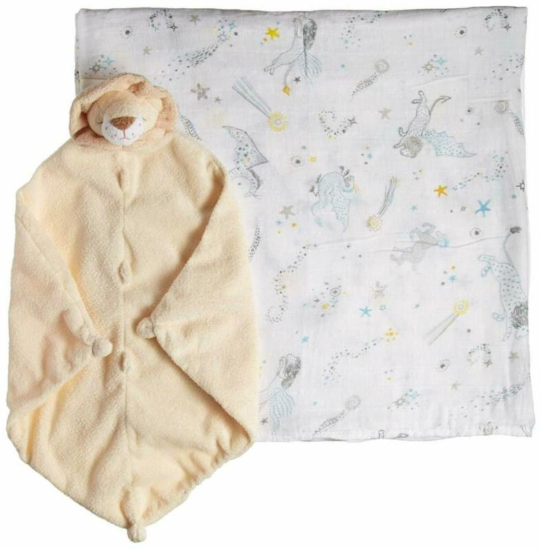 swaddle and blankie gift set celestial blue