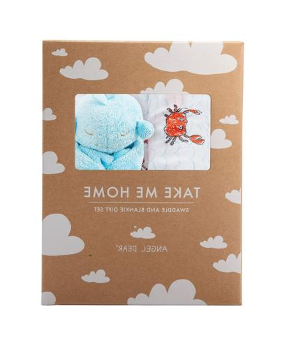 swaddle and blankie gift set crabby