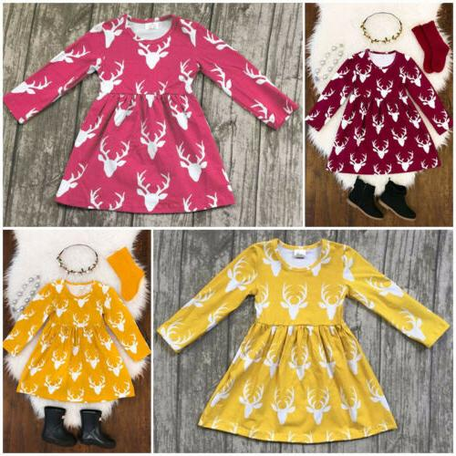 US Kids Baby Deer Clothes Cotton Party Dress Gifts