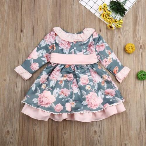 US Toddler Baby Flower Dress Birthday Clothes Gift