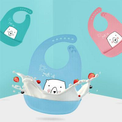Waterproof Silicone Bibs Toddler up Food GIFT