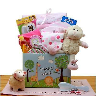 welcome new baby gift box pink