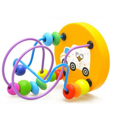 Wooden Toys Math Colorful Around Wire Toy
