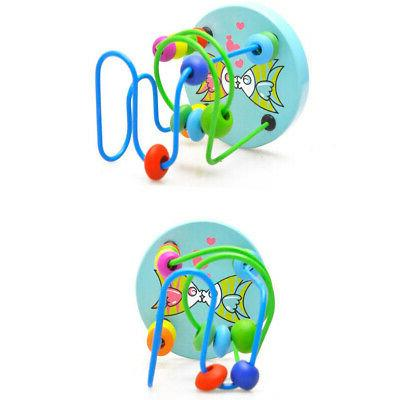 Wooden Toys Colorful Around Beads Wire Educational Gift Toy