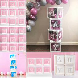 Letter A-Z Cube Transparent Gift Boxes Kid Birthday Baby Sho