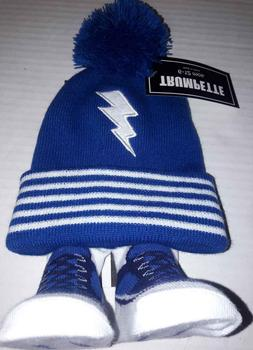 Lightning Bolt Baby Boy's Pom Hat & Socks 6-12 Months Trumpe