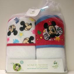 2pc Disney Baby Mickey Mouse Terry Hooded Towels Gift Set Wh