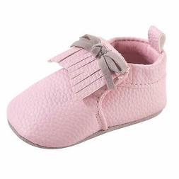 Hudson Baby Moccasin Booties, Light Pink, Size 0.0