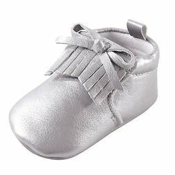 Hudson Baby Moccasin Booties, Silver,  Size Infant 0.0
