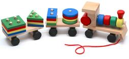 montessori educational wooden toy train with figures