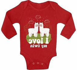 My Twin Baby Bodysuit Funny Baby Shower Gifts Cute Llamas Ou