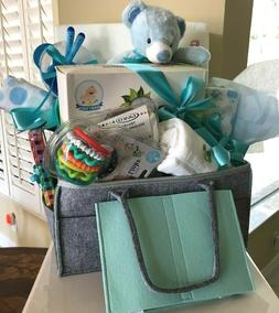 New Baby Boy Gift Set Basket -Large Diaper Caddy for Baby Sh
