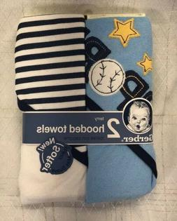 NEW Baby Boys 2 Pk Gerber Terry Hooded Bath Towels Sports Bl