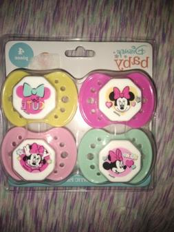 NEW Disney Baby Minnie Mouse Pacifiers 4 Pack Pastels Pink S