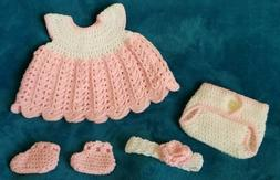 New crochet baby clothes dress diaper cover headband shoes b