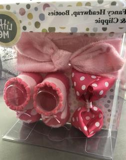NEW Little Me Head wrap, Heart Booties & Bow Clip Gift Set P