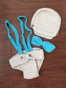 Newborn Baby 0-6 Month Boy Crochet Knit Suspenders Outfit Gi