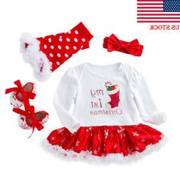 Newborn Infant Baby Girls Christmas Romper Dress Shoes Outfi