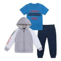 NWT $65 TOMMY HILFIGER 3 Piece Zip Hoodie Set Baby Boy Grey/
