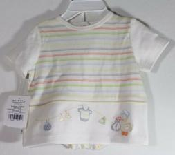 NWT little me Baby Boy 2 piece set Ivory Striped clothing Si