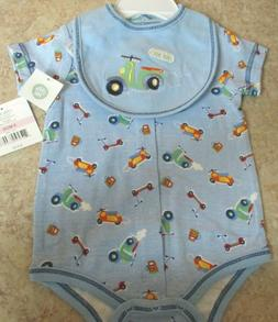 NWT, Little Me Baby Boy's Blue One Piece with Bib, Size 9 Mo