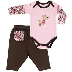 NWT GIRLS HUDSON BABY L/S BODYSUIT & PANT OUTFIT W/DEER SZ 9