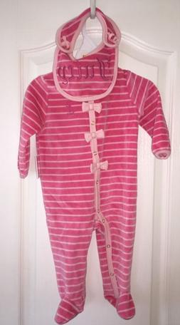 NWT Juicy Couture Pink Velour One-piece Bib Gift Set Baby Sh
