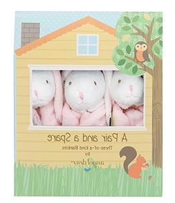 Angel Dear Pair and a Spare 3 Piece Blanket Set, Pink Bunny