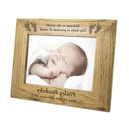 PERSONALISED OAK BABY PHOTO FRAME birth, scan, twins, new gr