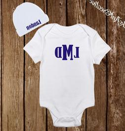 Personalized Monogram Cute Baby Boy Clothes Onesies Hat / Be