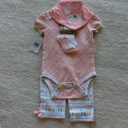 Chick Pea Pink White Llama Baby Girl Outfit Gift Set 3-6 Mon