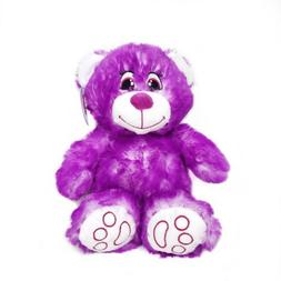 Purple and white fuzzy stuffed Teddy Bear by Nanco, Gift for