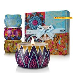 Yinuo Light Scented Candles Gift Set, 100% Soy Wax Portable