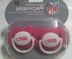 Seattle Seahawks PINK Baby Infant Pacifiers NEW - 2 Pack SHO