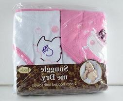 Snuggle Me Dry Baby Infant Hooded Bath Towels Pink White gir