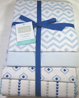 Hudson Baby 4 Pk.Soft Flannel Baby Boys Receiving Blankets 1