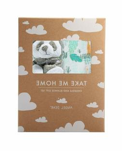 Angel Dear Swaddle And Blankie Gift Set, Jungle With Panda
