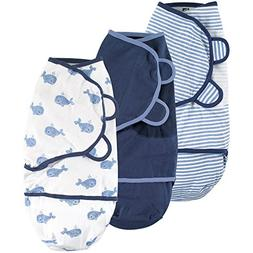 Hudson Baby Swaddle Wrap, Blue Whales, 0-3 Months