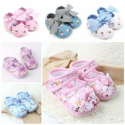 Toddler Infant Girls Bow Flower Soft Sole Cloth Casual Crib