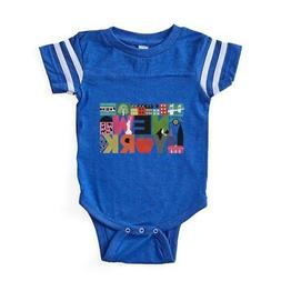 CafePress Unique New York Block By Baby Football Bodysuit