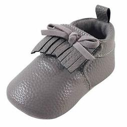 Hudson Baby Unisex Baby Moccasins, Gray Moccasin Bootie 1-pa