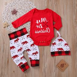 US 2019 Christmas Gifts Newborn First Xmas Romper +Pants+Hat