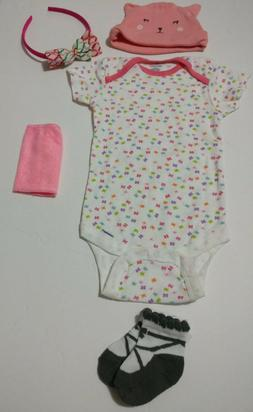 US Baby girl clothing 5 piece items lot 6-9 months baby show