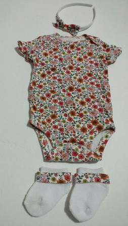 US baby girl clothing floral 3 pieces items lot 3 months bab